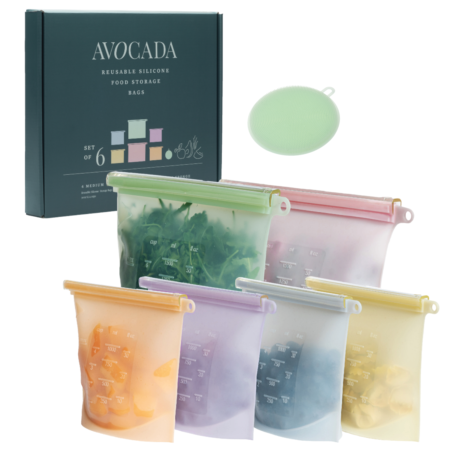 Reusable Silicone Food Storage Bags By Avocada and Sponge